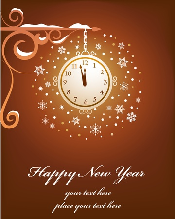 Retro New Yeard card with old clock Stock Vector - 8302477