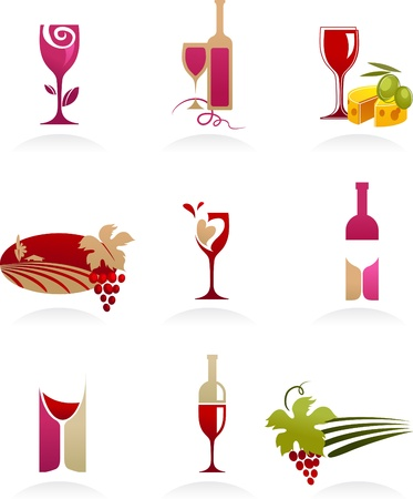Wine icons collection Stock Vector - 8302448