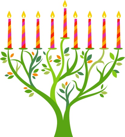 Hanukkah menorah tree with candles Vector