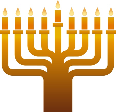 Old golden  Hanukkah menorah  Vector