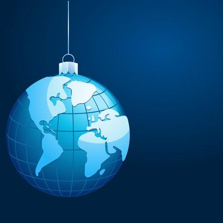 Blue Christmas globe symbol Stock Vector - 8302451