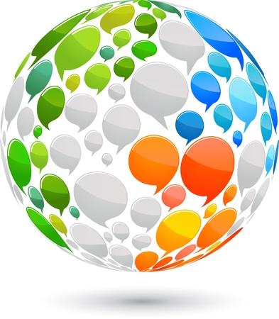 Kaart van de wereld gemaakt van spraak bubbels