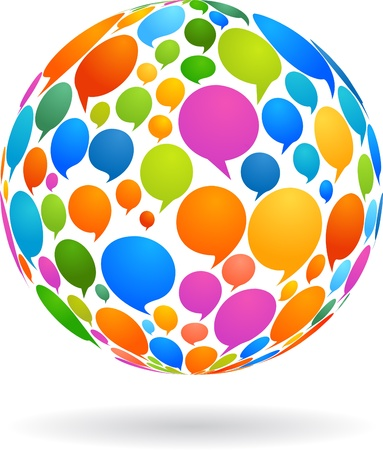 messages: Globe made from speech bubbles