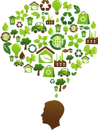 environmental awareness: Ecological awareness concept with many environmental icons