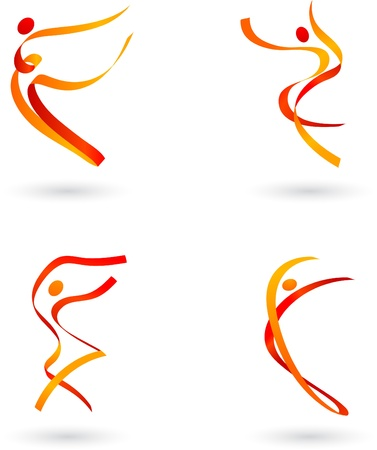 Abstract dancing figures set Vector