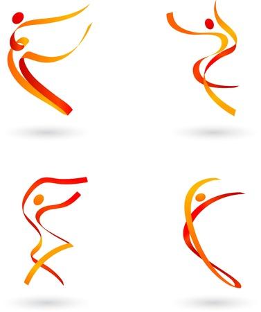 akrobatik: Abstrakt dancing Figuren set Illustration