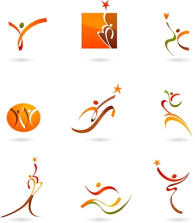 Abstract people icons and symbols Illustration