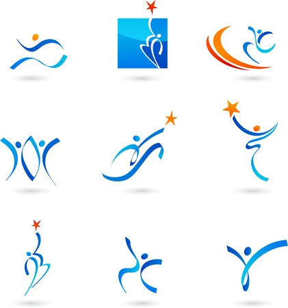 Abstract people icons and symbols  collection Vector