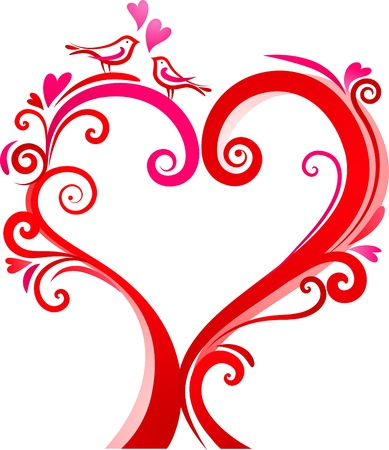 Heart-shaped tree with two love birds photo