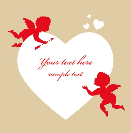 Two cupids and white heart photo