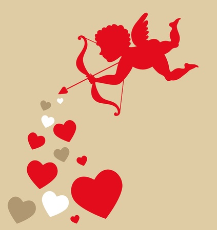 Cupid with hearts - Valentines template Stock Photo - 8679081