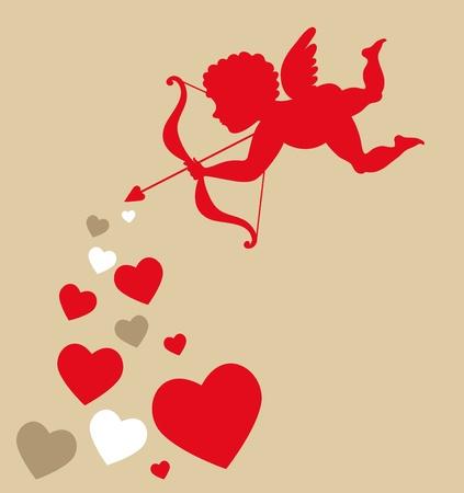 Cupido con corazones - plantilla de San Valent�n Foto de archivo - 8679081