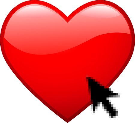 Red glossy heart with cursor photo