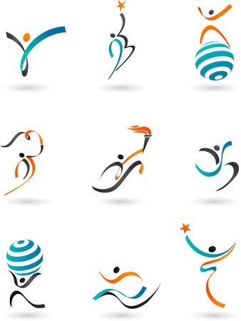 communication logo: Collection of human logos and icons
