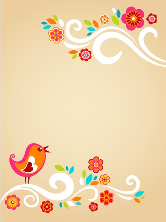 Easter card template with flowers and a bird photo