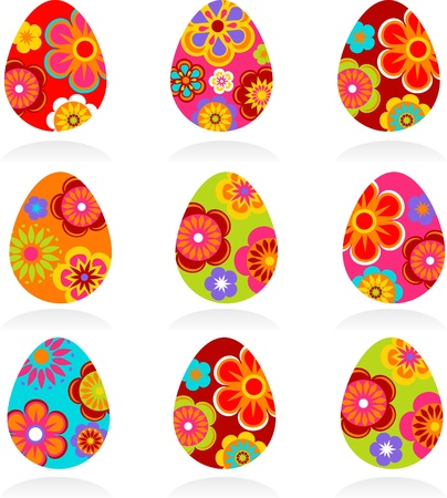 Nine colored Easter eggs Stock Photo - 8929598