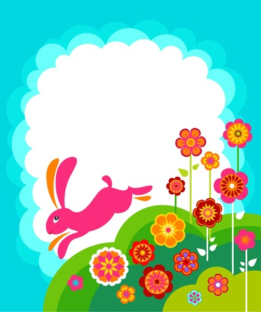 Running Easter bunny template with white copyspace photo
