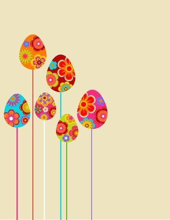 Easter floral eggs background photo