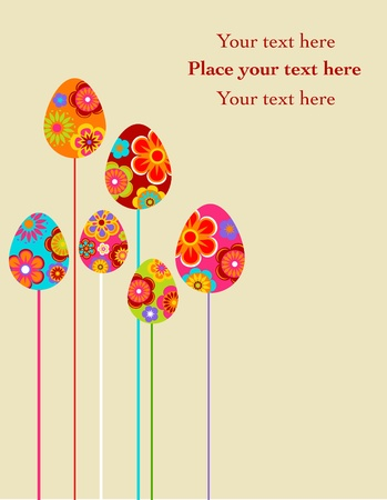 Easter floral eggs greeting card background photo