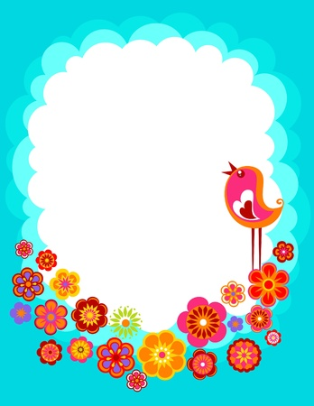 Easter background with with a bird and flowers photo