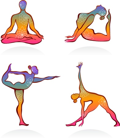 Four colorful yoga postures outlines photo