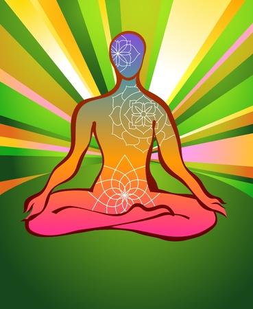 Mystic meditation in lotus pose photo