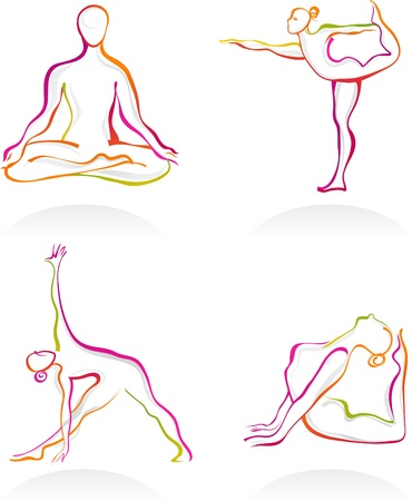 Asanas - Yoga postures outnlines Stock Photo