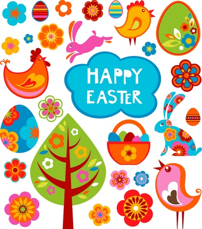 colored eggs: Easter card with many graphical elements Stock Photo