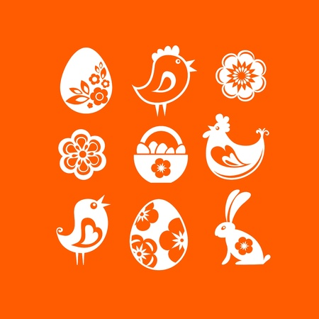 White Easter icons on orange background photo