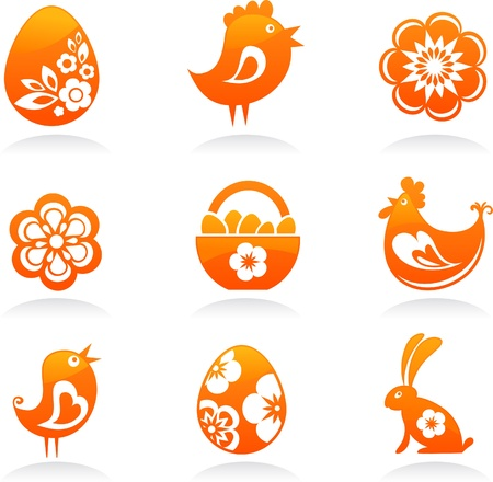 Nine orange Easter icons Stock Photo - 8929574
