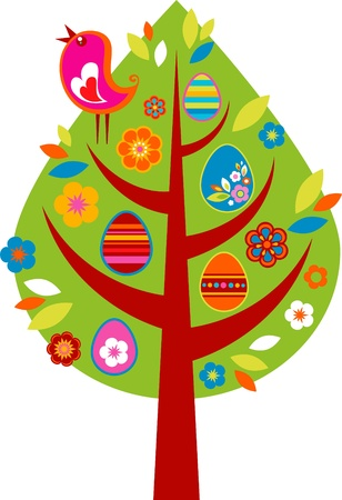 easter tree: Easter tree with colored eggs