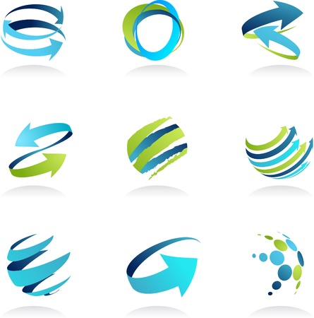 circle design: Business abstract icons set