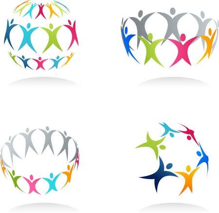 Together - conceptual human icons Stock Photo - 9103992