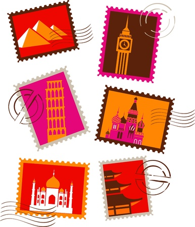 Landmarks stamps collection Stock Photo - 9104035