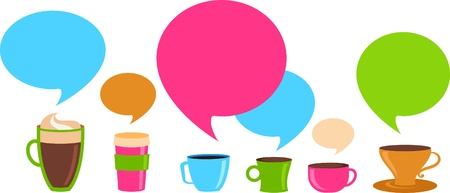 Coffee cups with colorful speech bubbles Stock Photo - 9103978
