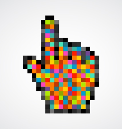 Pixelated hand pointing up Stock Photo - 9103979