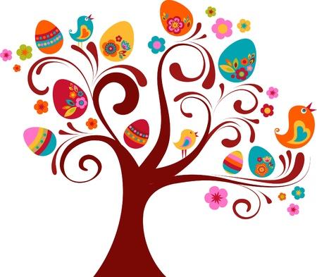 arbol de pascua: Árbol de Pascua rizado con aves y huevos Foto de archivo