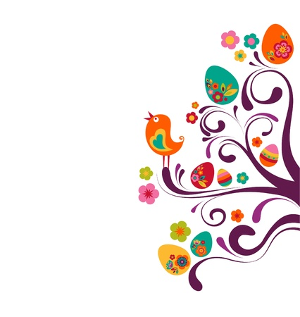 Easter branches with colored eggs and a bird Stock Photo - 9104008