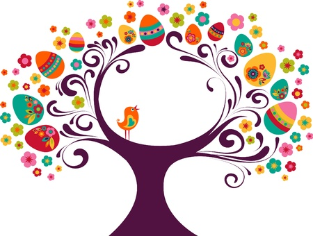 egg plant: Easter tree background with a small bird