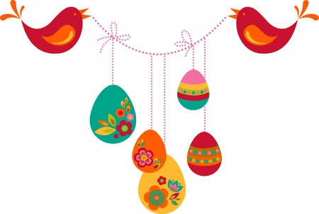Two birds with colored Easter eggs Stock Photo - 9104006