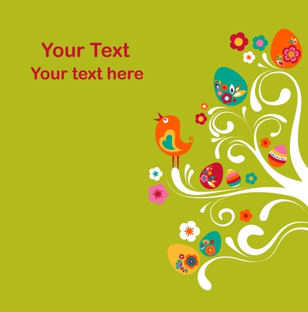 Easter tree card template Stock Photo - 9104003