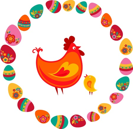Easter chicken surrounded by eggs Stock Photo - 9104016