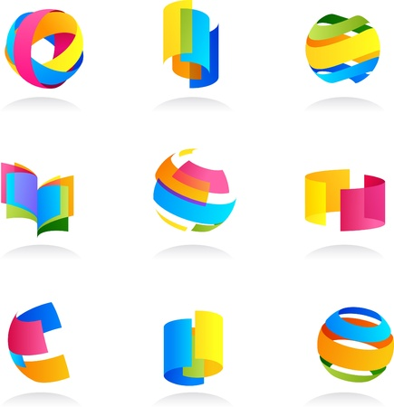 Abstract icons set with ribbon elements photo