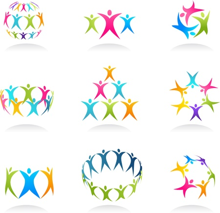 community work: Teamwork abstract human icons Stock Photo