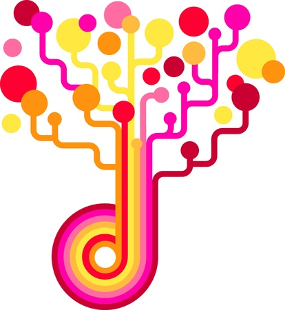 Colored vector tree - technology backgound Vector