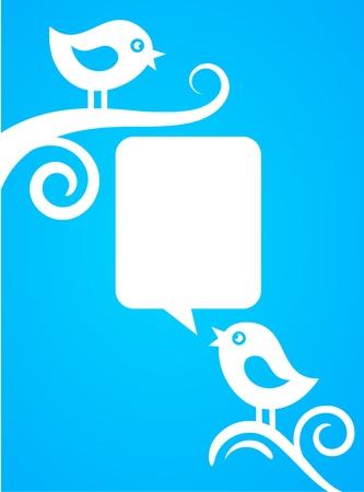 backgound with blue birds Stock Vector - 9639178
