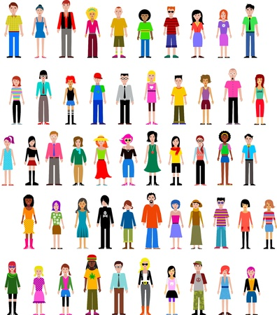 collection of different vector people