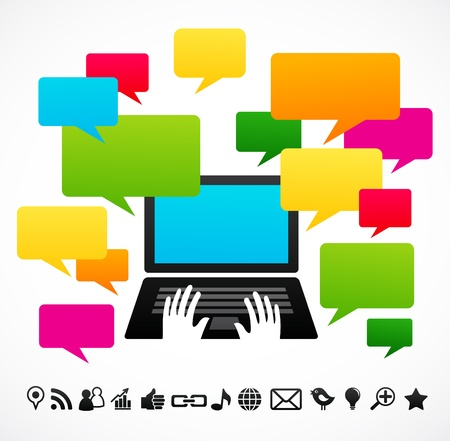 Laptop computer with speech bubbles Stock Vector - 9639176