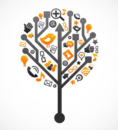 Social network tree with media icons Stock Vector - 9639207