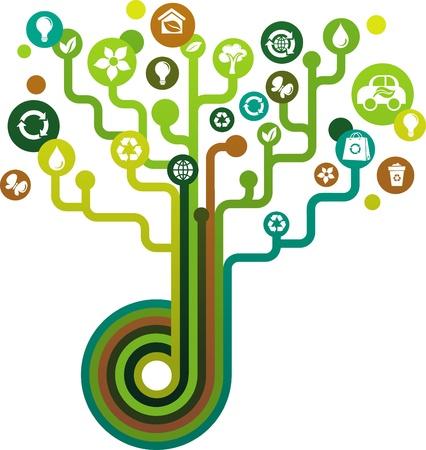 grünen Baum mit ökologischen icons